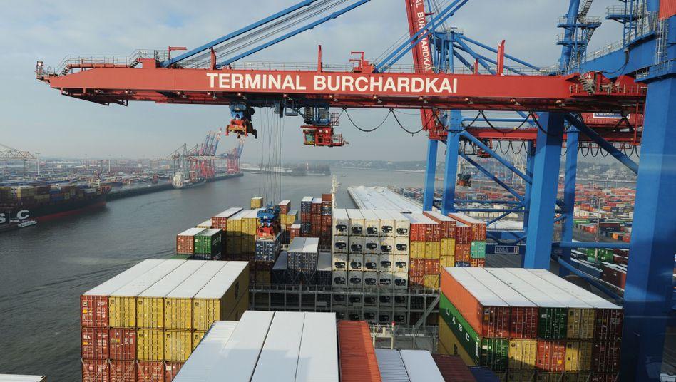 Containerverladung in Hamburg: Unternehmen und Konsumenten sind wieder optimistisch
