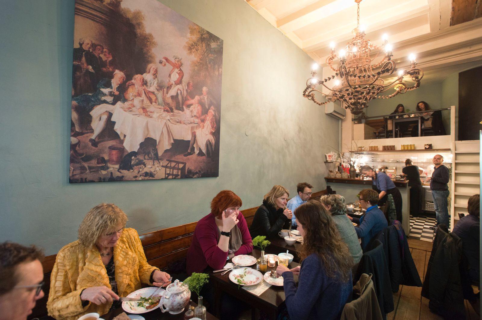 Diners at Gartine restaurant in Amsterdam.