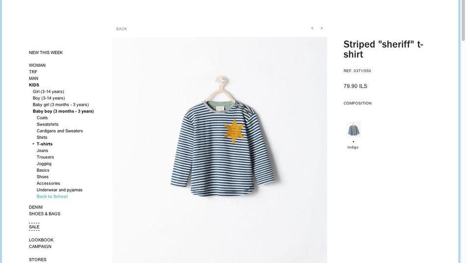 """Kinder-Shirt im Zara-Online-Store: """"Inspiriert von Sheriff-Sternen aus klassischen Western"""""""