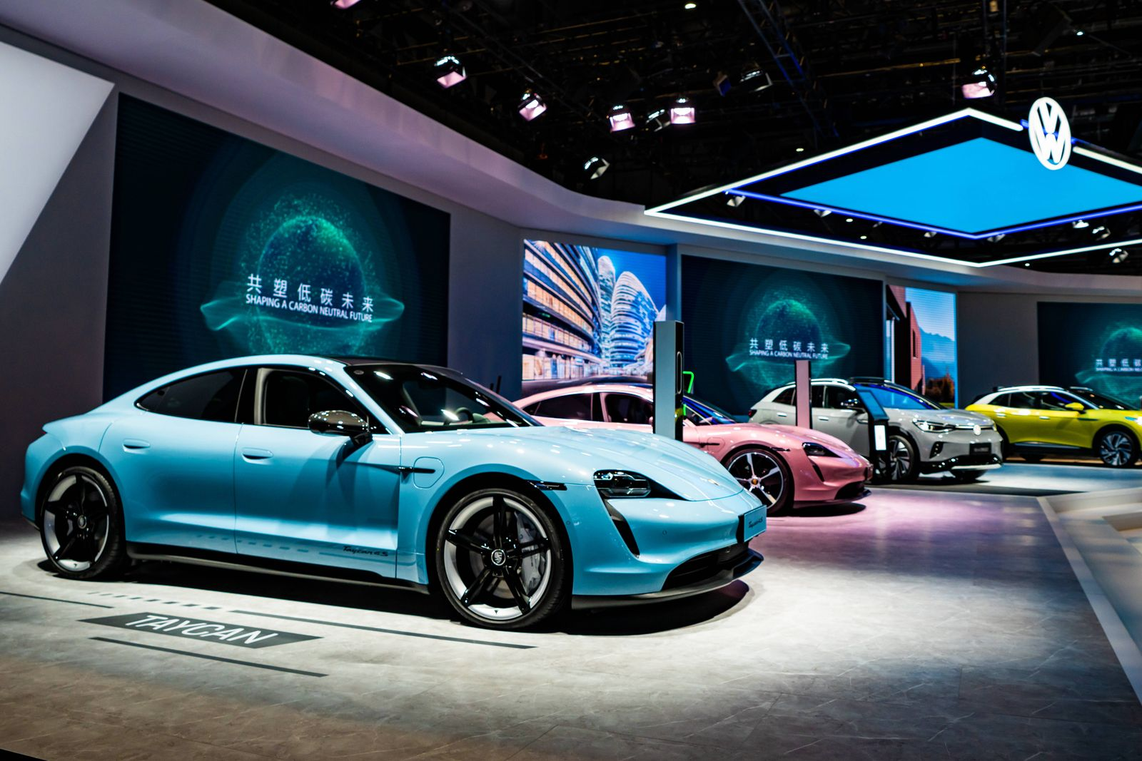 SHANGHAI, CHINA - NOVEMBER 05: A Porsche Taycan electric car is on display during the 3rd China International Import Ex