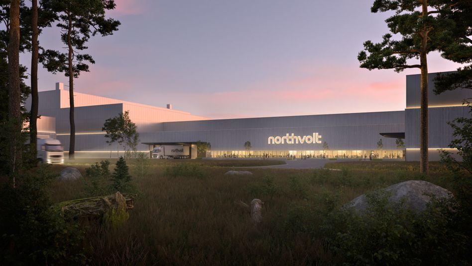 Alles sehr grün: So soll die derzeit im Bau befindliche Batteriezellen-Fabrik von Northvolt in Schweden einmal aussehen (Rendering)