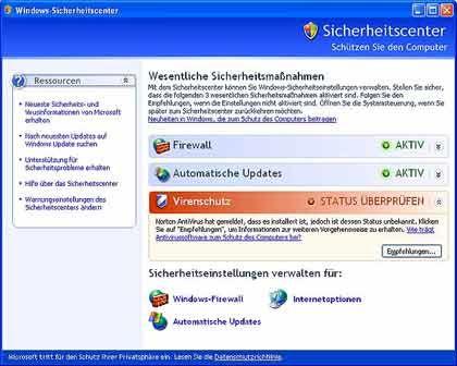 """Neues """"Security Center"""": Firewall eingeschaltet"""