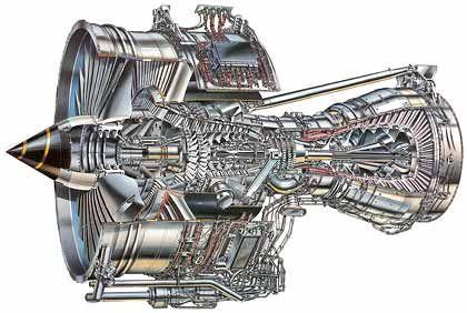 Monster-Maschine: Querschnitt durch ein Rolls-Royce Triebwerk des Airbus A 380. Der Lufteinlass hat einen Durchmesser von fast drei Metern.