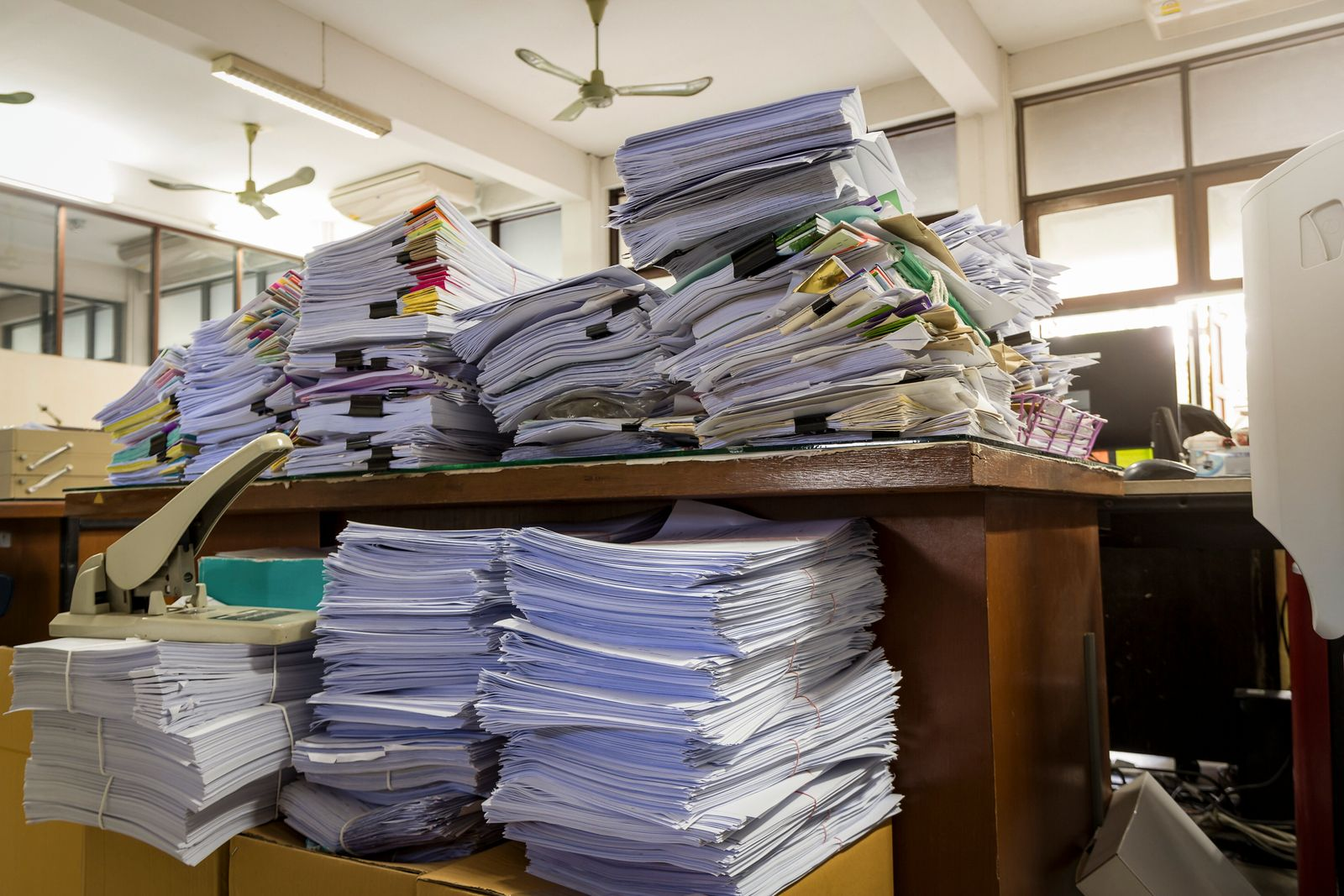 Pile of unfinished documents on office desk, Stack of business paper (jat306)