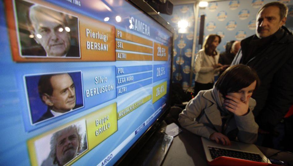 Präsentation der Wahlergebnisse in Rom: Auch Neuwahlen gelten als eine Option