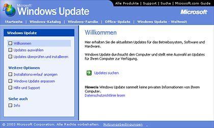 Hilfe beim Opfer: Auf der Microsoft-Update-Seite, Ziel des Wurms, lässt sich der Programmpatch herunterladen
