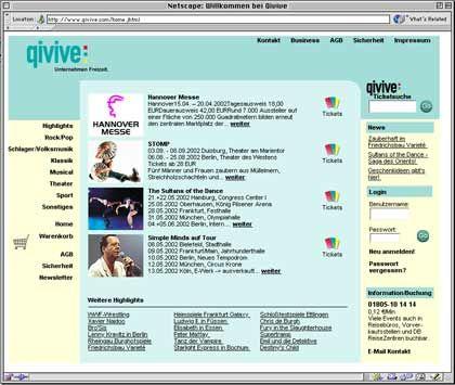 Screenshot der Homepage von Qivive
