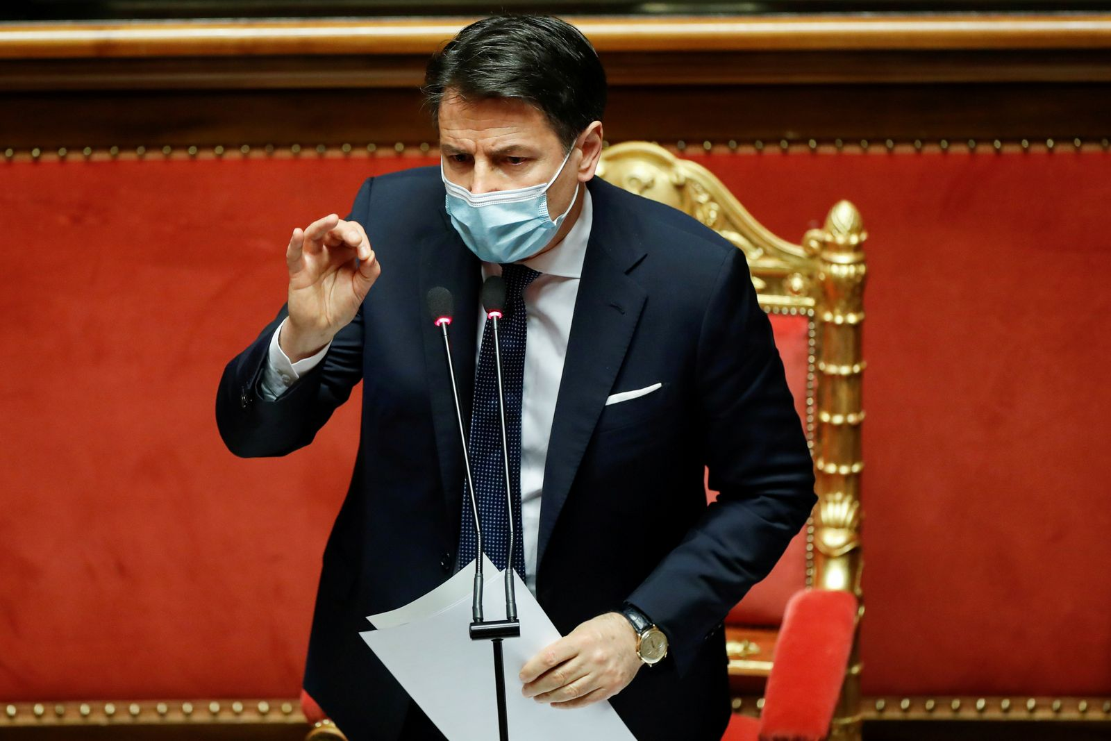 FILE PHOTO: Italian PM Conte faces a confidence vote at the upper house of parliament, in Rome