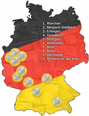 Kaufkraft-Ranking: Klicken Sie auf die Großansicht, um die Deutschlandkarte mit den zehn reichsten Städten anzusehen.