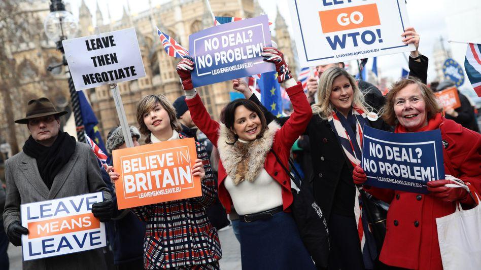 Für den Austritt: Demonstranten in London