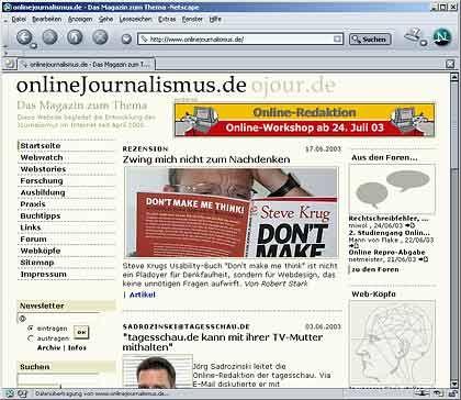 Ausgezeichnete Internetseite: onlinejournalismus.de