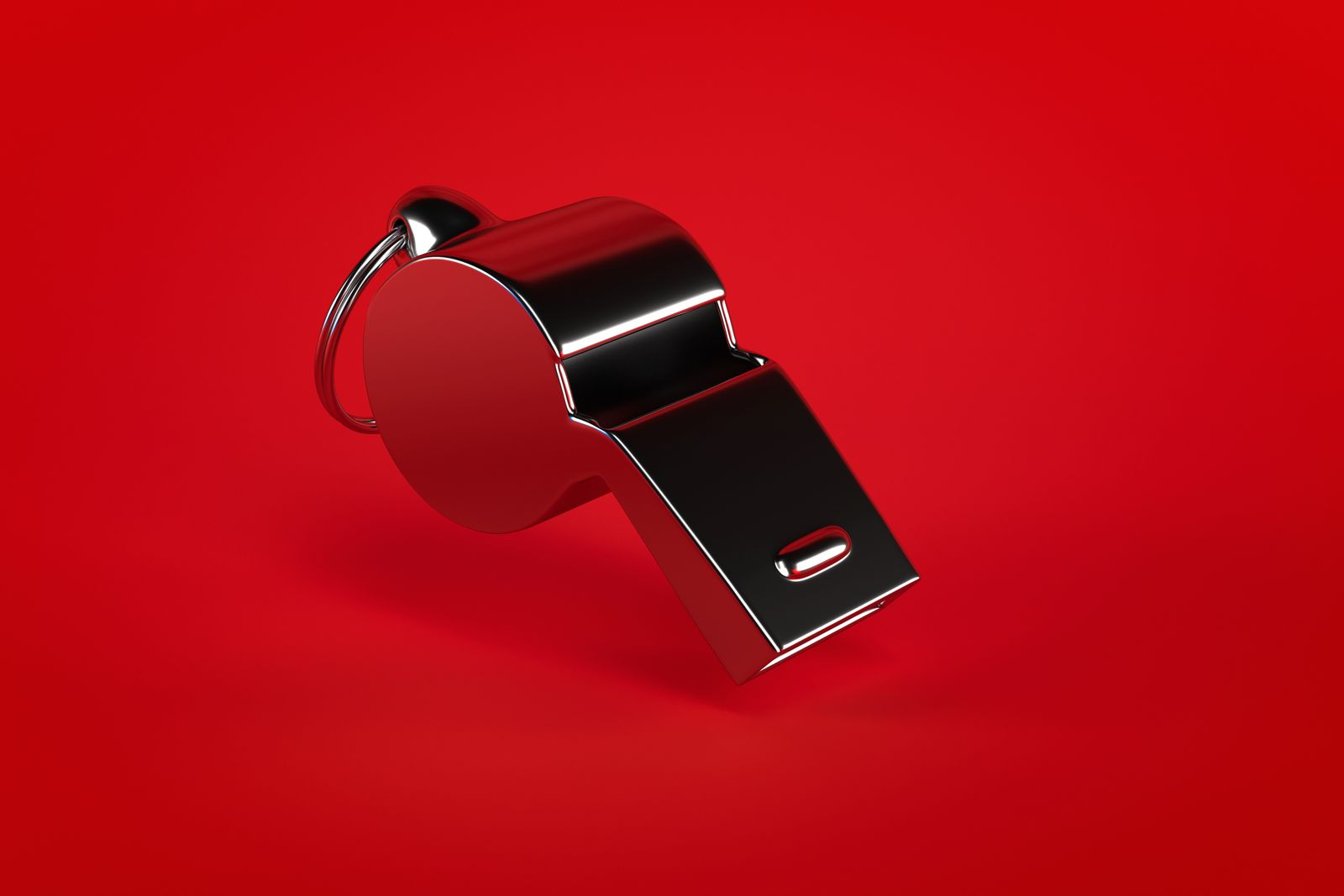 3d rendering Whistle on red background