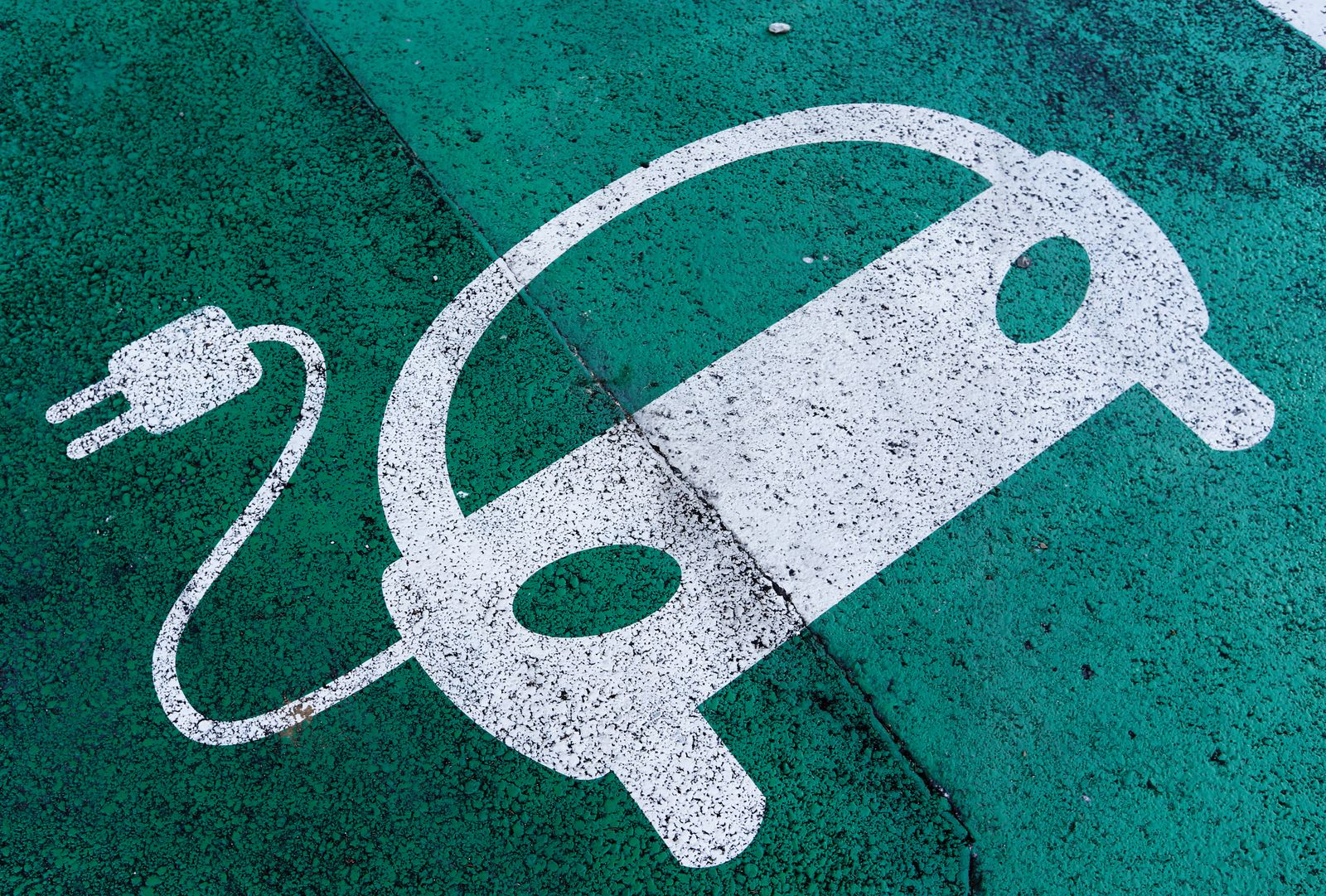 A sign is pictured on an electric car charging station at the United Nations in Geneva