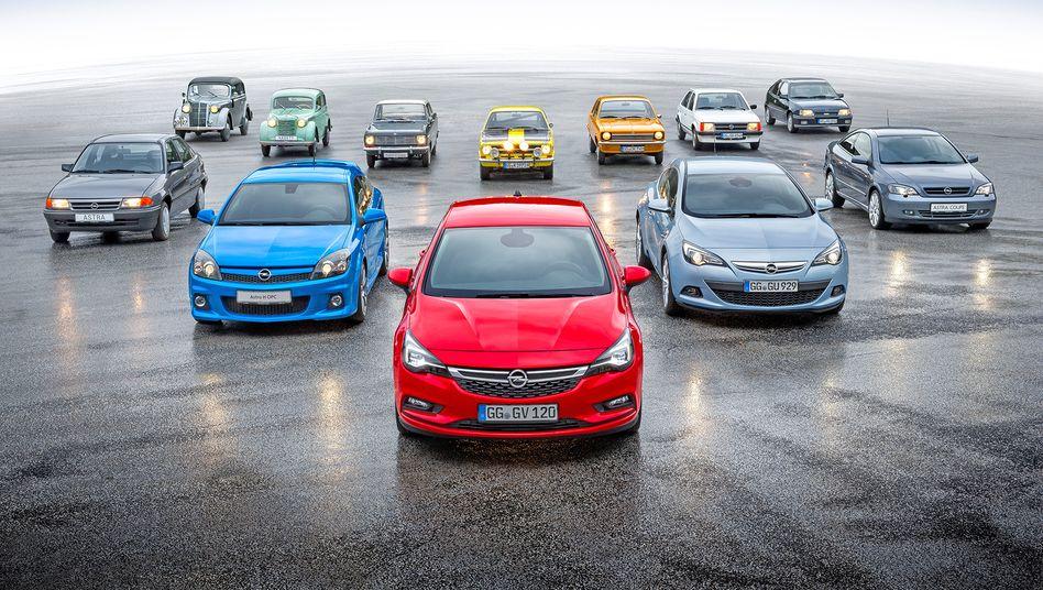 Opel-Palette vom ersten Kadett (1936) bis zum neuen Astra (2016): Peugeot wird knallhart sanieren, warnt ein Frankreich-Kenner
