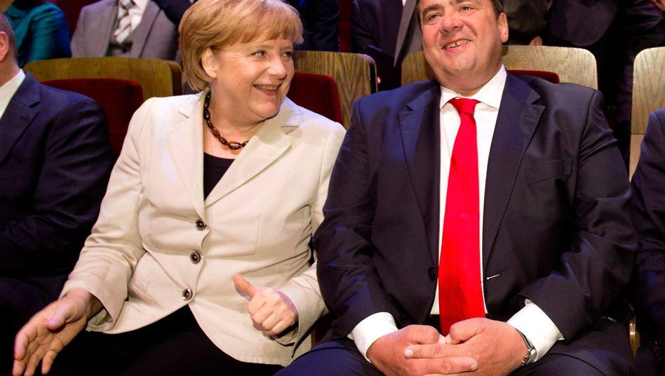 Kanzlerin Angela Merkel, SPD-Chef Sigmar Gabriel