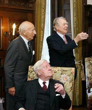 Jubiläumsrunde: Beitz bei seinem 90. Geburtstag mit den Politlegenden Walter Scheel und Helmut Schmidt