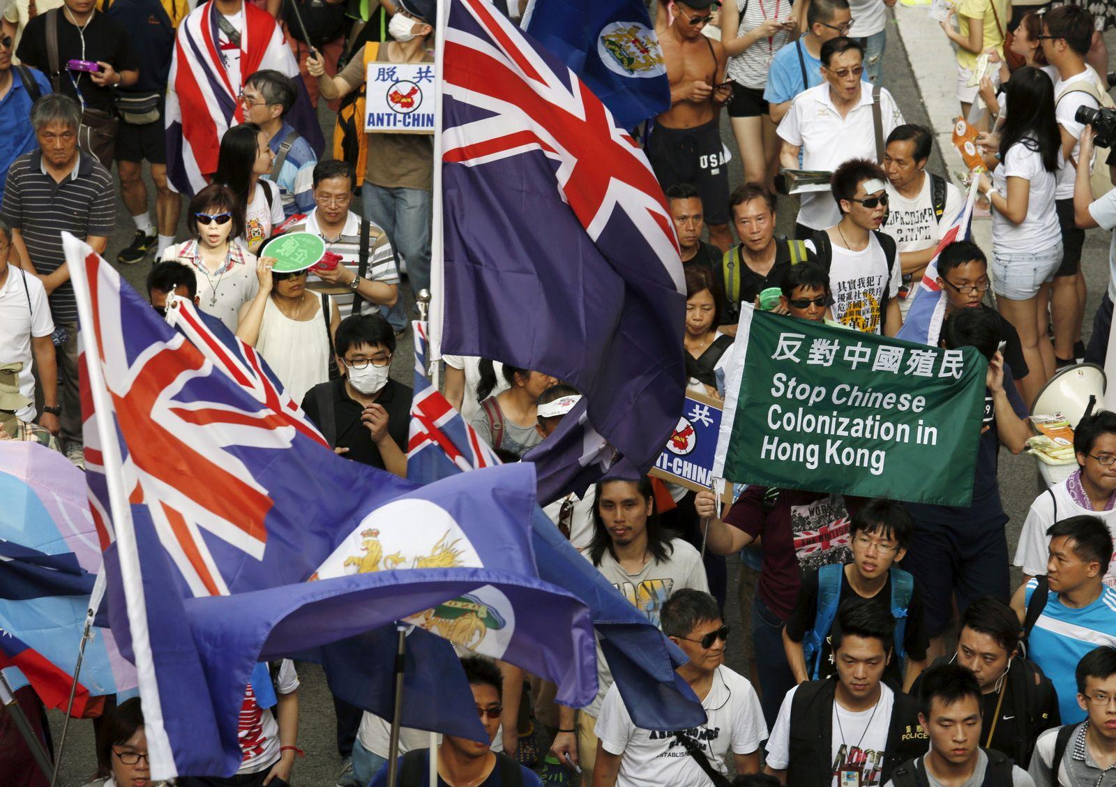 Protest/ Hongkong/ Flagge