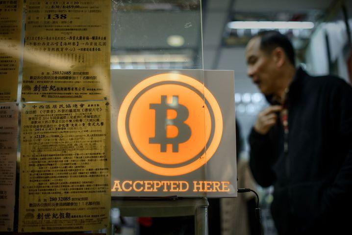 Ein Geschäft in Hong Kong, das Bitcoin als Zahlungsmittel akzeptiert