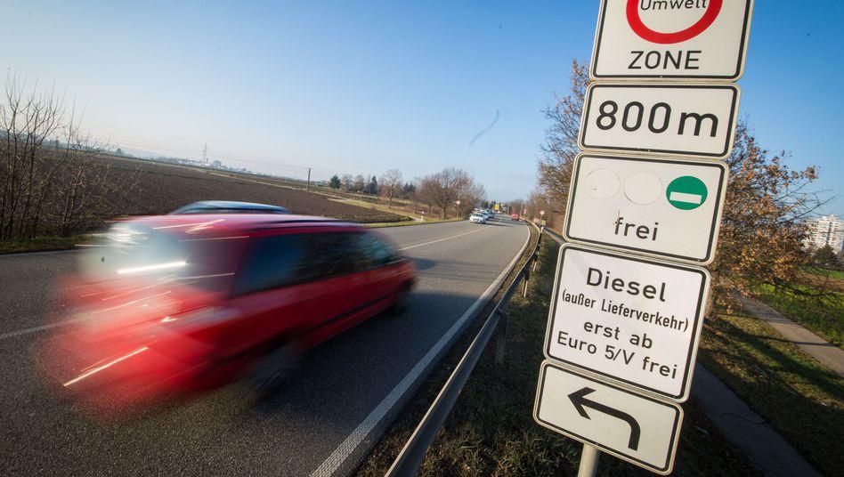Dieselverbot: Tafel in Stuttgart