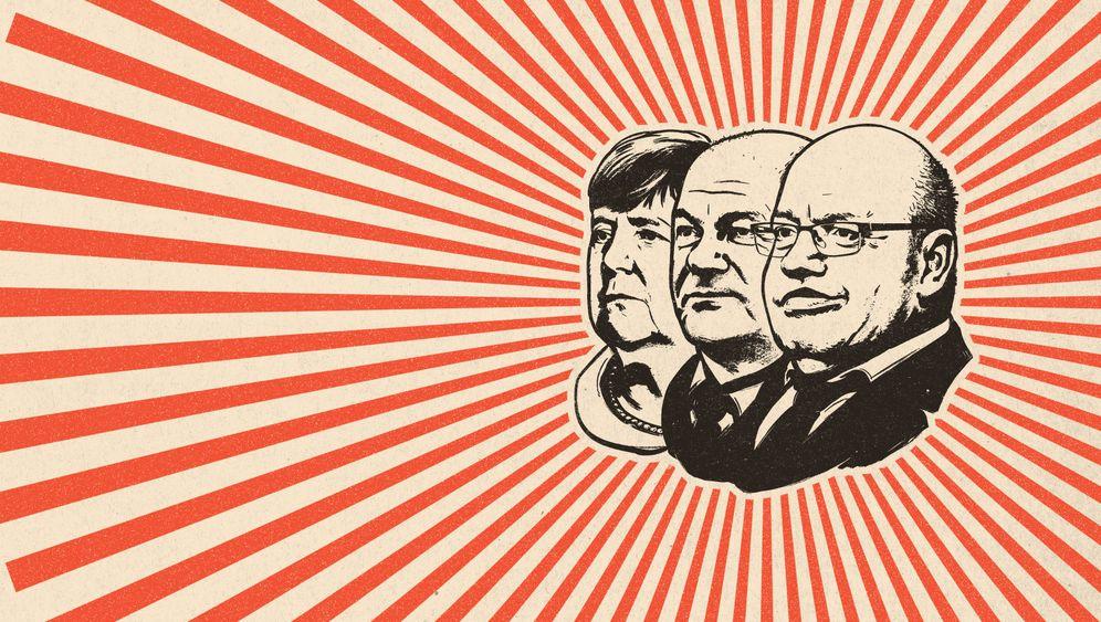 Leiter des VEB BRD:Angela Merkel, Olaf ScholzundPeter Altmaier(v. l.) wollen nicht nur retten, sondern auch gestalten