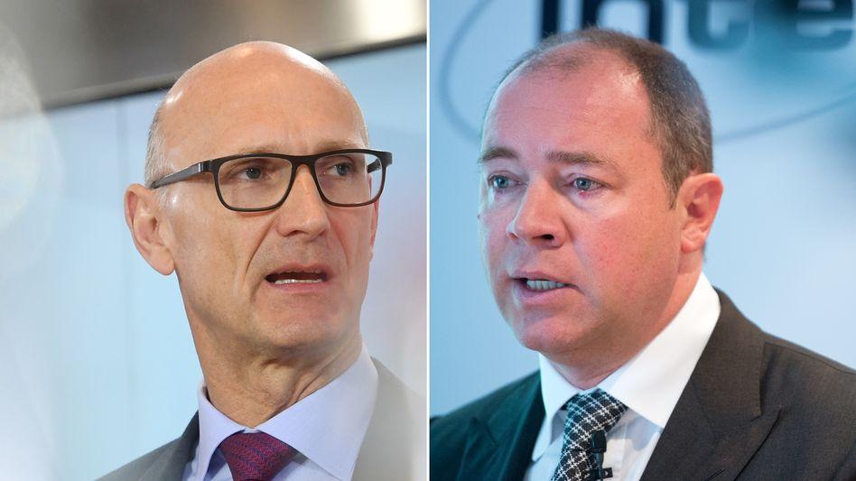 Telekom-Chef Tim Höttges (links) und Ralph Dommermuth, Chef des Rivalen United Internet