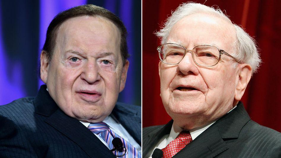 Streit um Energieversorgung von Nevada: Kasino-Mogul Adelson (l.) und Investmentlegende Buffett