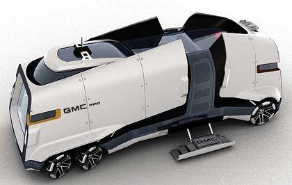 GMC PAD: Die Vordenker bei General Motors haben das Wohnmobil weiterentwickelt und dies in eine raupenartige Form gebracht. Drinnen gibt es Kommunikations-Hightech satt