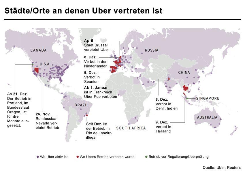 GRAFIK Karte Uber Standorte, Städte, Orte