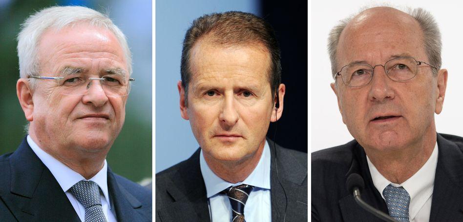 Martin Winterkorn, Herbert Diess, Hans Dieter Pötsch: Die Staatsanwaltschaft Braunschweig hat die aktuelle Führungsspitze von VW sowie Ex-Chef Winterkorn wegen des Verdachts auf Marktmanipulation angeklagt