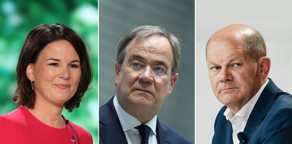 Drei Kanzlerkandidat*innen: Annalena Baerbock, Armin Laschet, Olaf Scholz