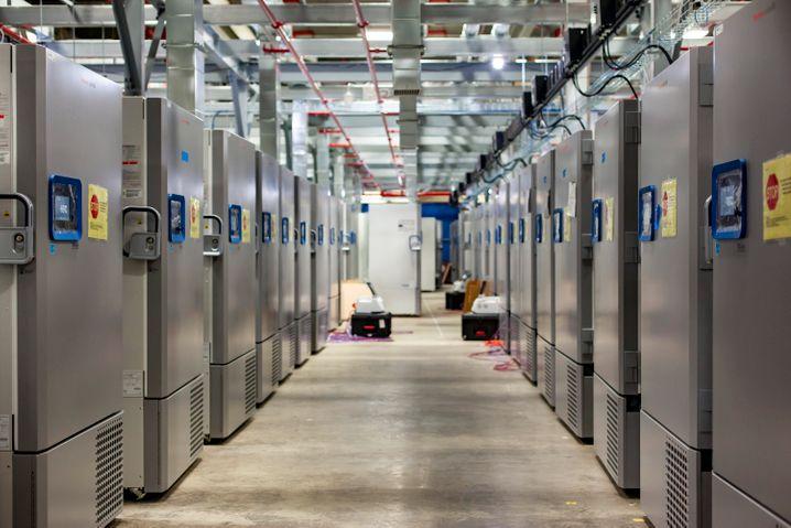 Freezer Farm: Kühllager von Pfizer, in dem der Corona-Impfstoff bei unter -70 Grad Celsius gelagert werden kann