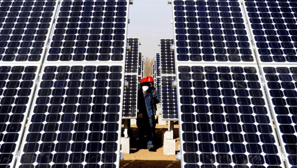 Deutschland adé? Installateure in einem Solarpark in Nordchina.