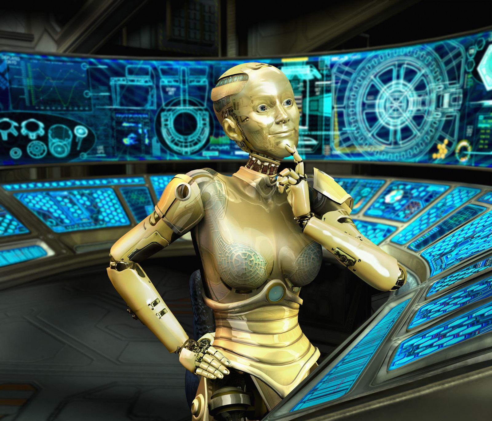 NICHT MEHR VERWENDEN! - Goldener Roboter an einem Schaltpult