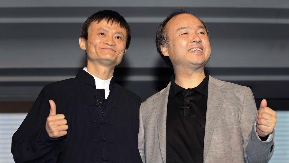 Alibaba-Gründer Jack Ma (l) and Softbank-Chef Masayoshi Son: Shooting-Stars der asiatischen Tech-Welt