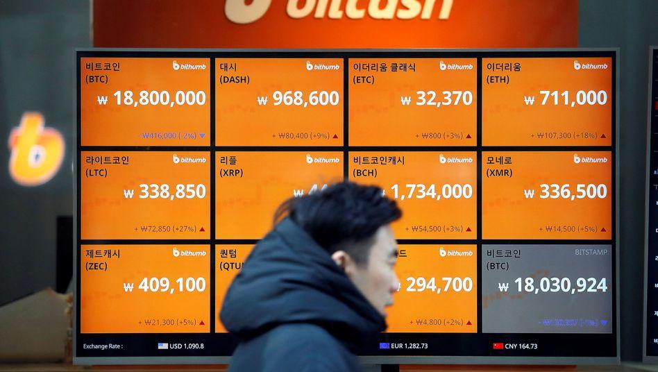 Kurstafel vor Kryptobörse in Seoul