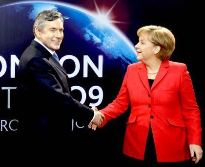 Verhandlungen kommen voran: Bundeskanzlerin Merkel mit dem britischen Premierminister Gordon Brown