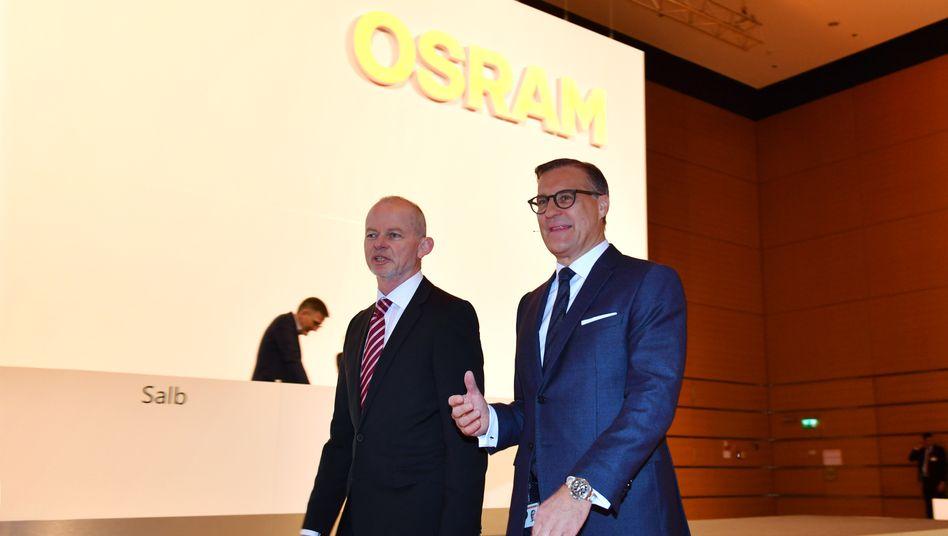 Abmarsch: Aufsichtsratschef Peter Bauer und Vorstandschef Olaf Berlien (r.) werden Osram verlassen.