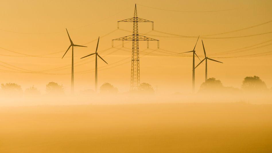 Ökostrom von Windrädern: Wegen der stark gestiegenen Preise an den Strombörsen brauchen die Netzbetreiber nur noch eine geringere Umlage