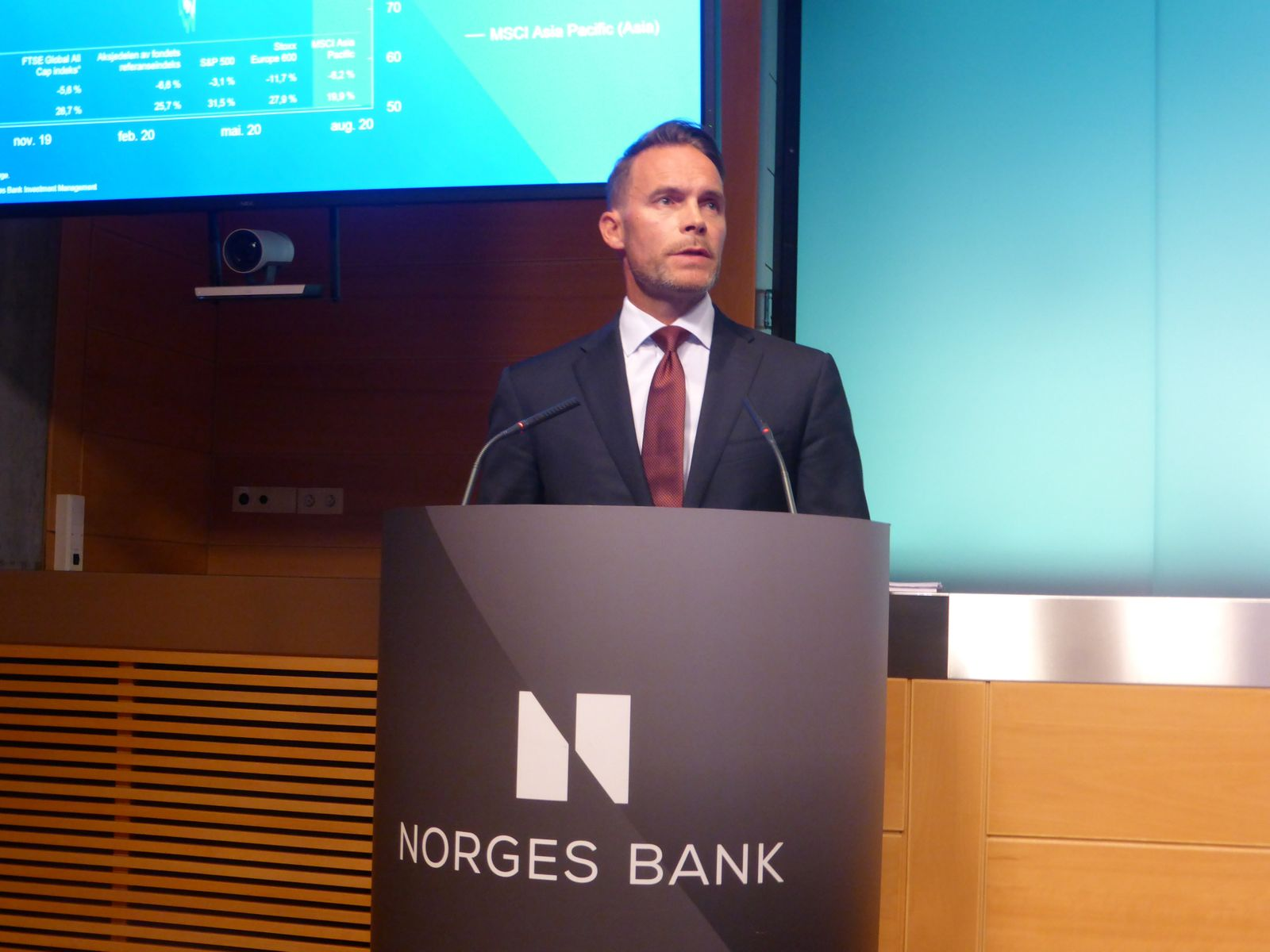 The deputy CEO of the Norwegian sovereign wealth fund Trond Grande speaks at a news conference at the Norwegian central bank in Oslo