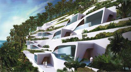 Waben: Im Samana-Resort schmiegen sich die Luxussuiten an den Berg