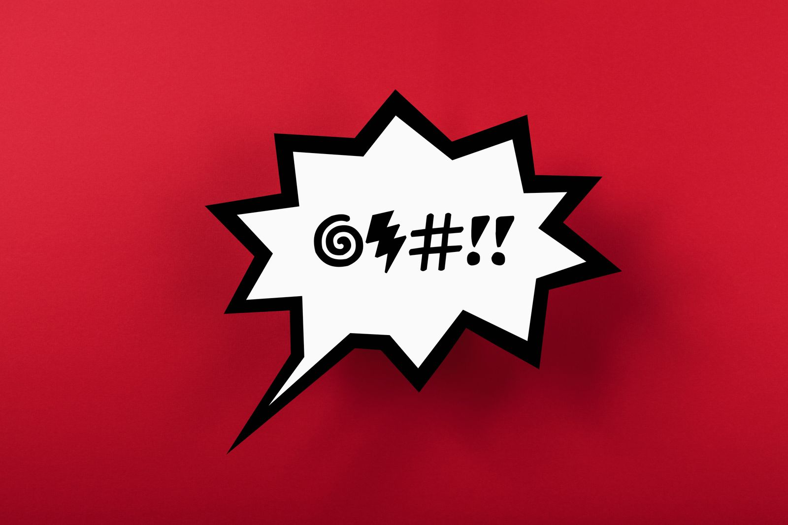 Curse speech bubble against red background