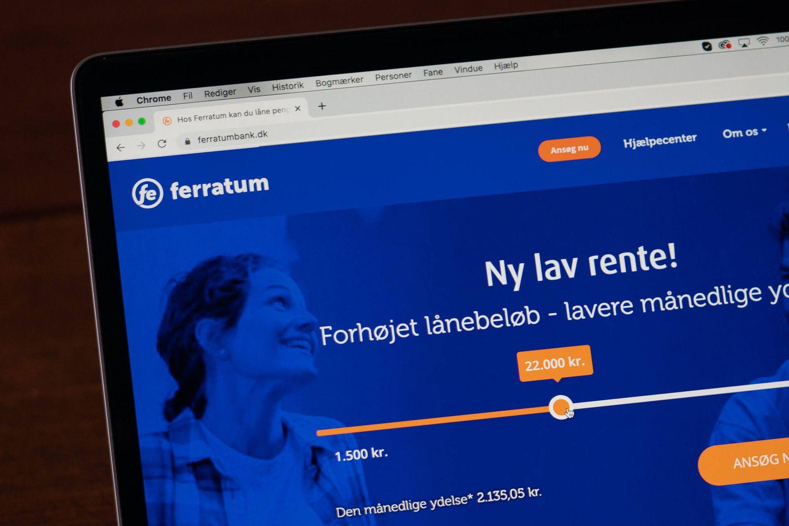 Laaneudbyderen Ferratum paa www.ferratumbank.dk paa Macbook Pro mandag den 21. september 2020.. , Copenhagen Denmark ***