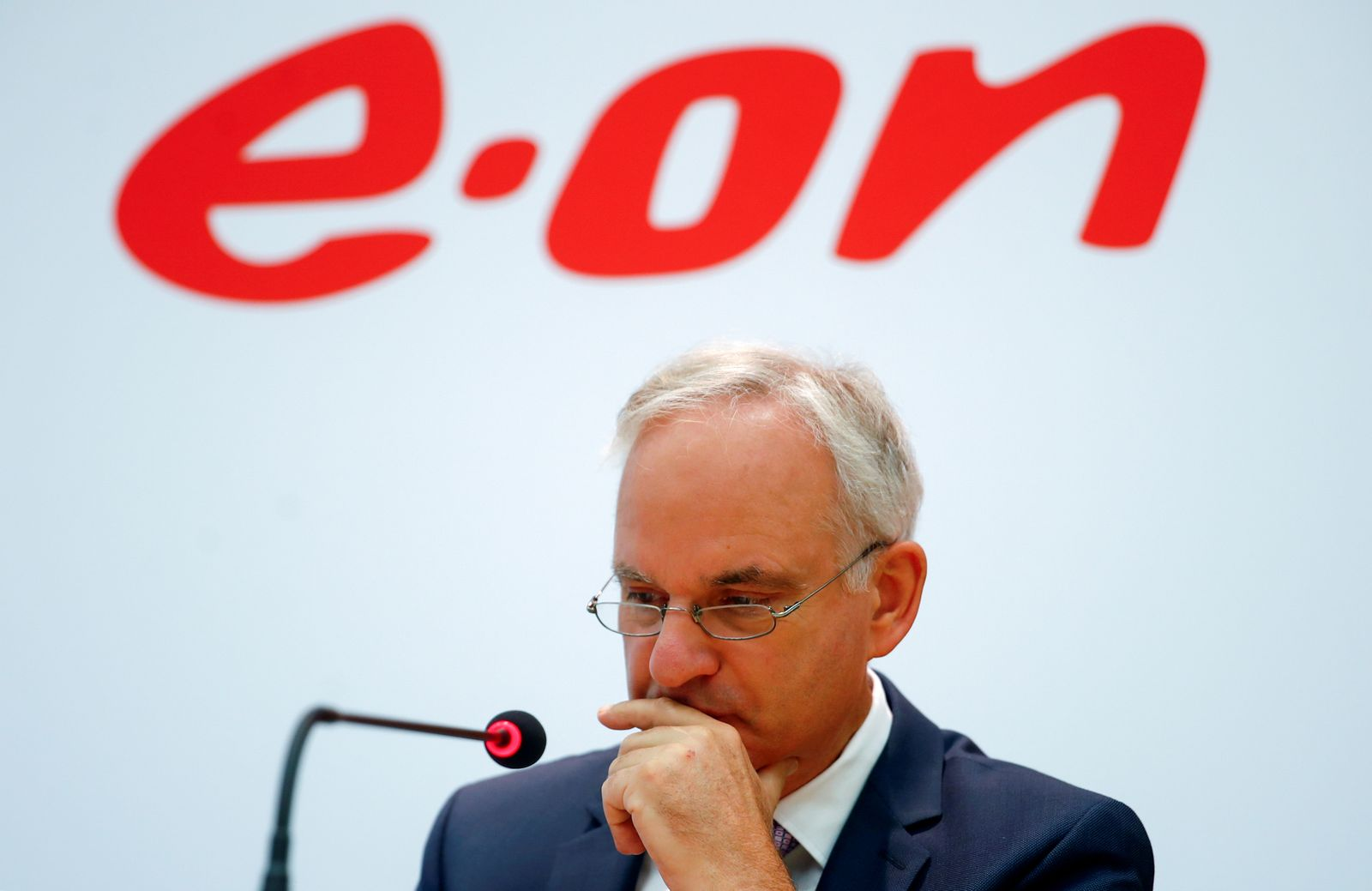 FILE PHOTO: E.ON CEO Johannes Teyssen speaks to reporters in Essen