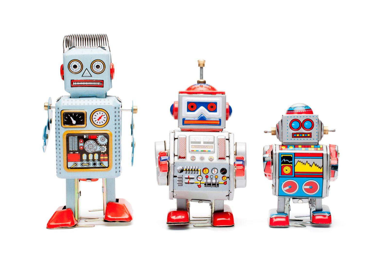 Retro tin toy robots