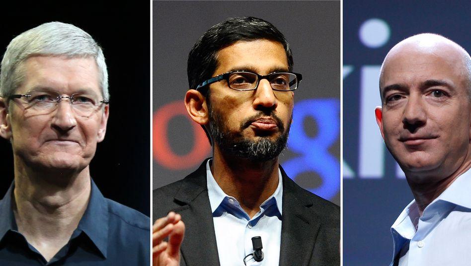Apple-Chef Cook, Google-Chef Pichai, Amazon-Chef Bezos: Drei der fünf bekanntesten - und wertvollsten - Unternehmen der Welt