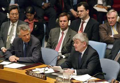 Letzte diplomatische Bemühungen: Außenminister Fischer im UN-Sicherheitsrat