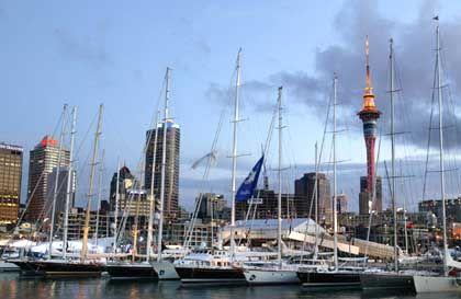 Imposante Kulisse: Der Hafen von Auckland