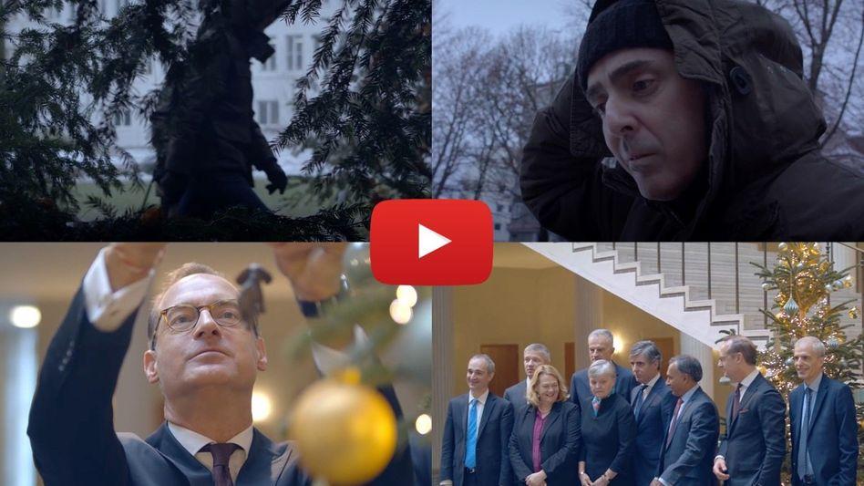 Weihnachtsmärchen auf YouTube: Eine dunkle Gestalt entpuppt sich als Digitalchef de la Sota, Oliver Bäte schmückt den Beutebaum und der Allianz-Vorstand gefällt sich als Team.
