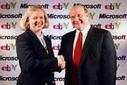 Zwei, die sich mögen: Steve Ballmer CEO von Microsoft (r.) und Meg Whitman