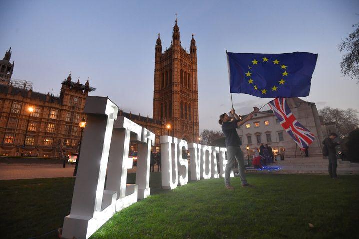 Anhänger eines zweiten Referendums vor dem Parlamentsgebäude in London